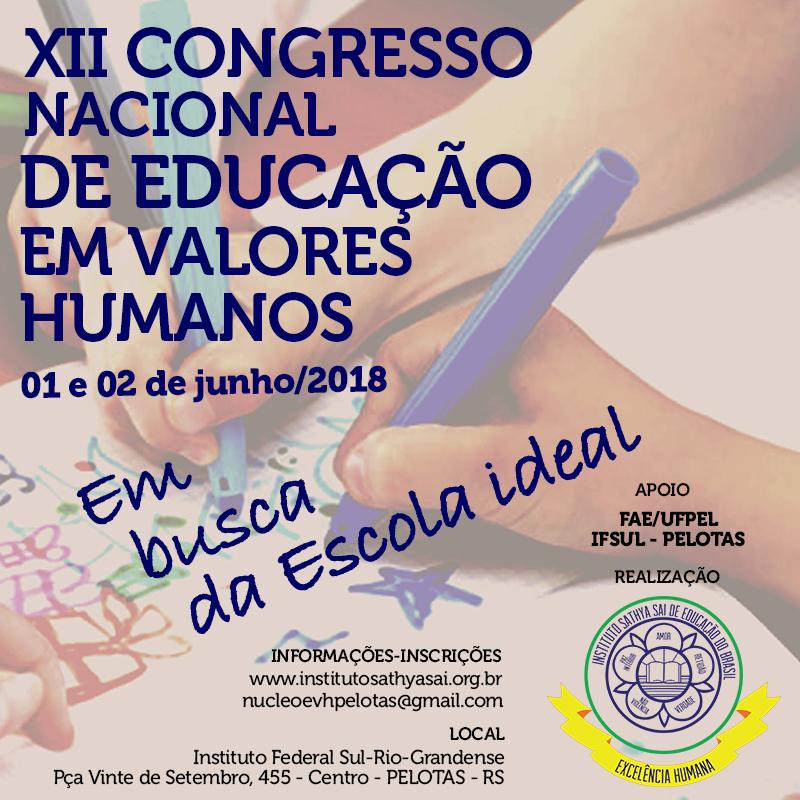 3ec446f5fce6 A Faculdade de Educação da UFPel está apoiando o 12º Congresso Nacional de  Educação em Valores Humanos, Em busca da escola ideal, que se realizará nos  dias ...