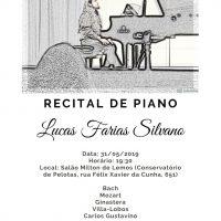 cartaz com informações sobre o recital, mostrando imagem de Lucas ao piano