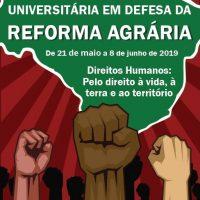 cartaz do evento, mostra o mapa do Brasil e mãos levantadas