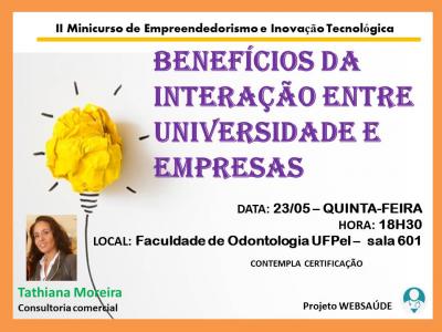 cartaz com informações do evento e foto da palestrante