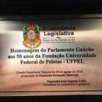 imagem da placa em homenagem aos 50 anos da UFPel.